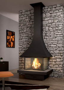 Julietta 985 mural fireplace with glasses